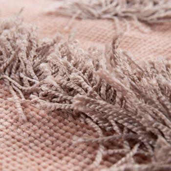 Teppich Wohnzimmer Shaggy Hochflor Zickzack Muster Skandinavisch In Uni Rosa – Bild 3