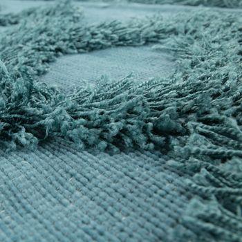 Tapis Salon Shaggy Poils Longs Zigzag Motif Scandinave Uni Turquoise – Bild 3