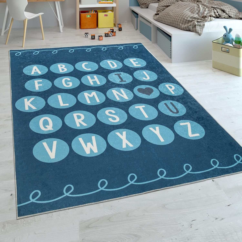 Spielteppich Alphabet Lernen Kinderteppich Blau Kinder Teppiche