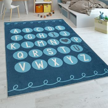 Childrens Rug Childrens Bedroom Modern Learning Rug Washable Playful ABC Blue White – Bild 1
