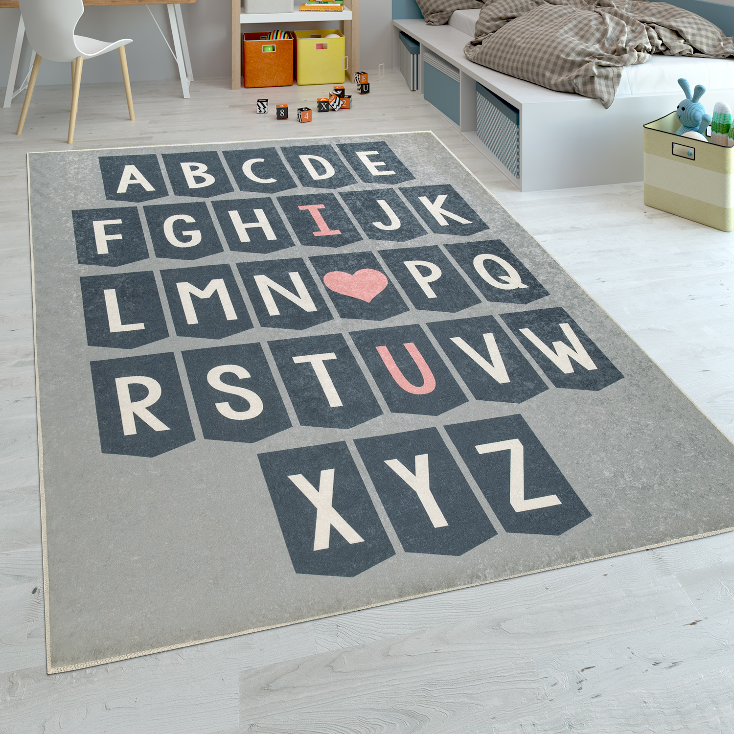 Childrens Rug Childrens Bedroom Modern Learning Rug Washable Playful ABC Grey White