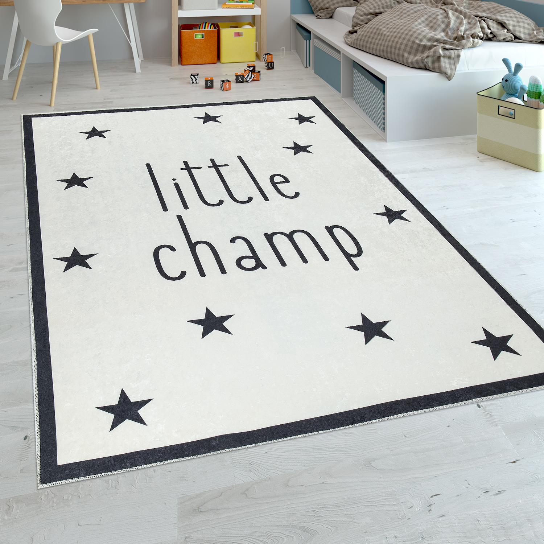 Kinderteppich Sterne Mit Spruch Schwarz Weiss Kinder Teppiche