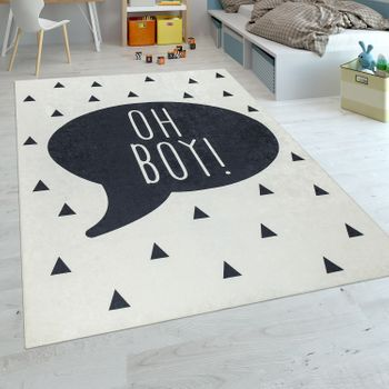 Childrens Rug Childrens Bedroom Boys Baby Rug Washable Slogan Trend Black White – Bild 1