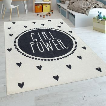 Childrens Rug Girls Hearts with Slogan Black White