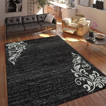 Rug Living Room Short Pile Ornament Black