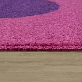Childrens Rug Girls Childrens Bedroom Play Rug Short Pile Flowers in Pink – Bild 2