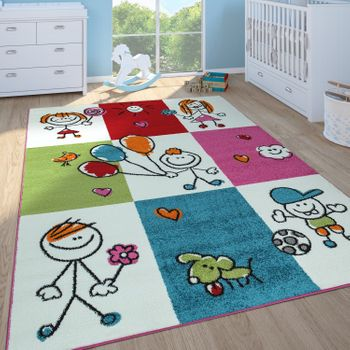Childrens Rug Girls Boys Childrens Bedroom Play Rug Short Pile Figures in Cream – Bild 1
