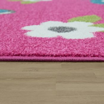 Childrens Rug Girls Childrens Bedroom Play Rug Short Pile Butterflies in Pink – Bild 2