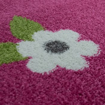 Childrens Rug Girls Childrens Bedroom Play Rug Short Pile Butterflies in Pink – Bild 3
