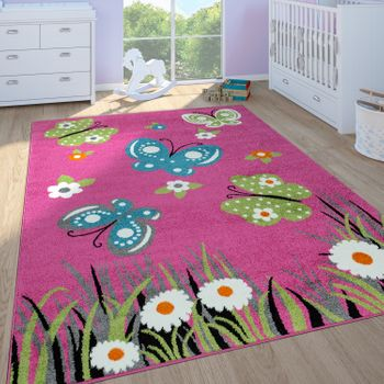 Childrens Rug Girls Childrens Bedroom Play Rug Short Pile Butterflies in Pink – Bild 1