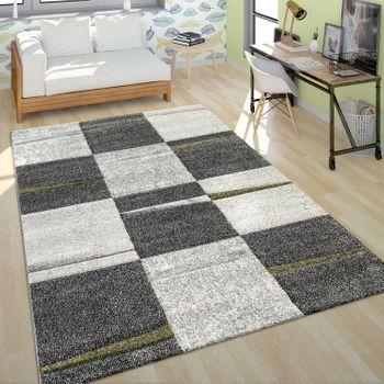 Moderner Kurzflor Teppich Wohnzimmer Design Mehrfarbig Kariert Akzente Grün – Bild 1