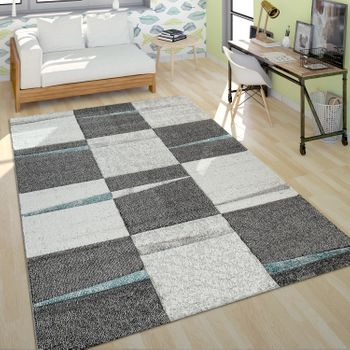 Modern Short Pile Rug Living Room Design Multicoloured Chequered Accents Turquoise – Bild 1