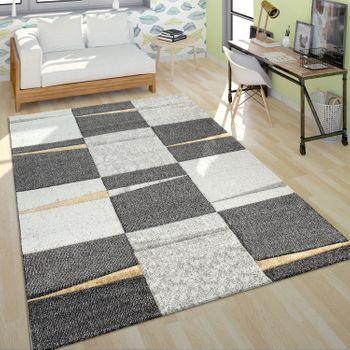 Moderner Kurzflor Teppich Wohnzimmer Design Mehrfarbig Kariert Akzente Gelb – Bild 1