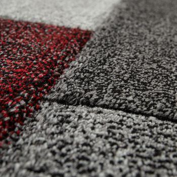 Short Pile Rug Living Room Modern Design Multicoloured Geometric Chequered Red – Bild 3