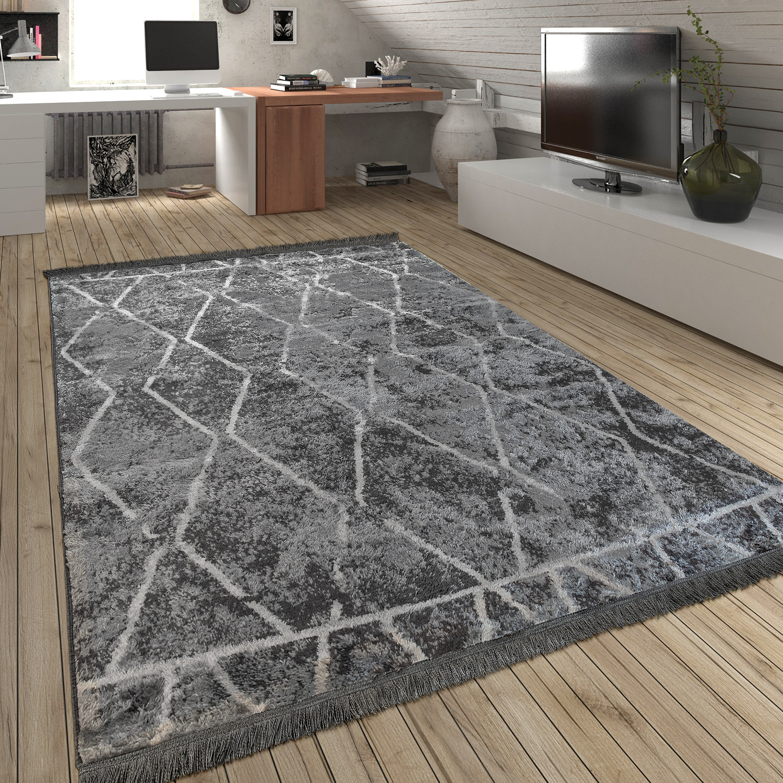 hochflor teppich fransen rauten grau design teppiche. Black Bedroom Furniture Sets. Home Design Ideas