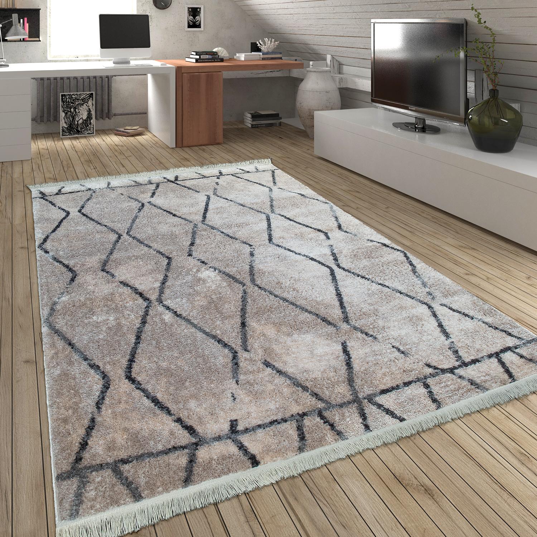 Teppich Hochflor Fransen Rauten Creme Design Teppiche