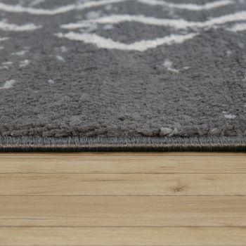 Teppich Fransen Skandinavisch Wohnzimmer Rauten Muster Karo In Grau Creme – Bild 2