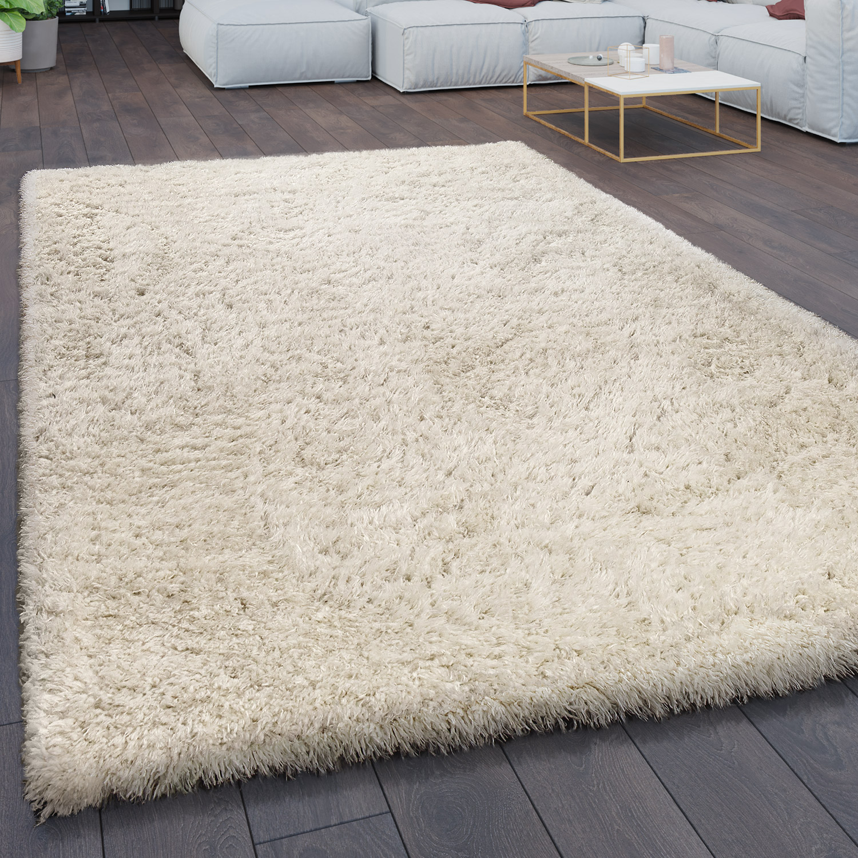 Rug Living Room Shaggy High Pile Flokati Modern Monochromatic in Cream