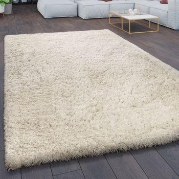 Teppich Wohnzimmer Shaggy Hochflor Flokati Modern Einfarbig In Creme – Bild 1