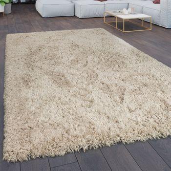 Teppich Wohnzimmer Shaggy Hochflor Flokati Modern Einfarbig In Beige – Bild 1