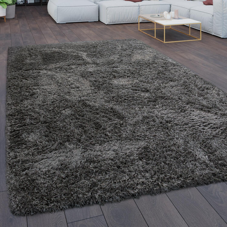 teppich wohnzimmer shaggy hochflor flokati modern einfarbig in anthrazit