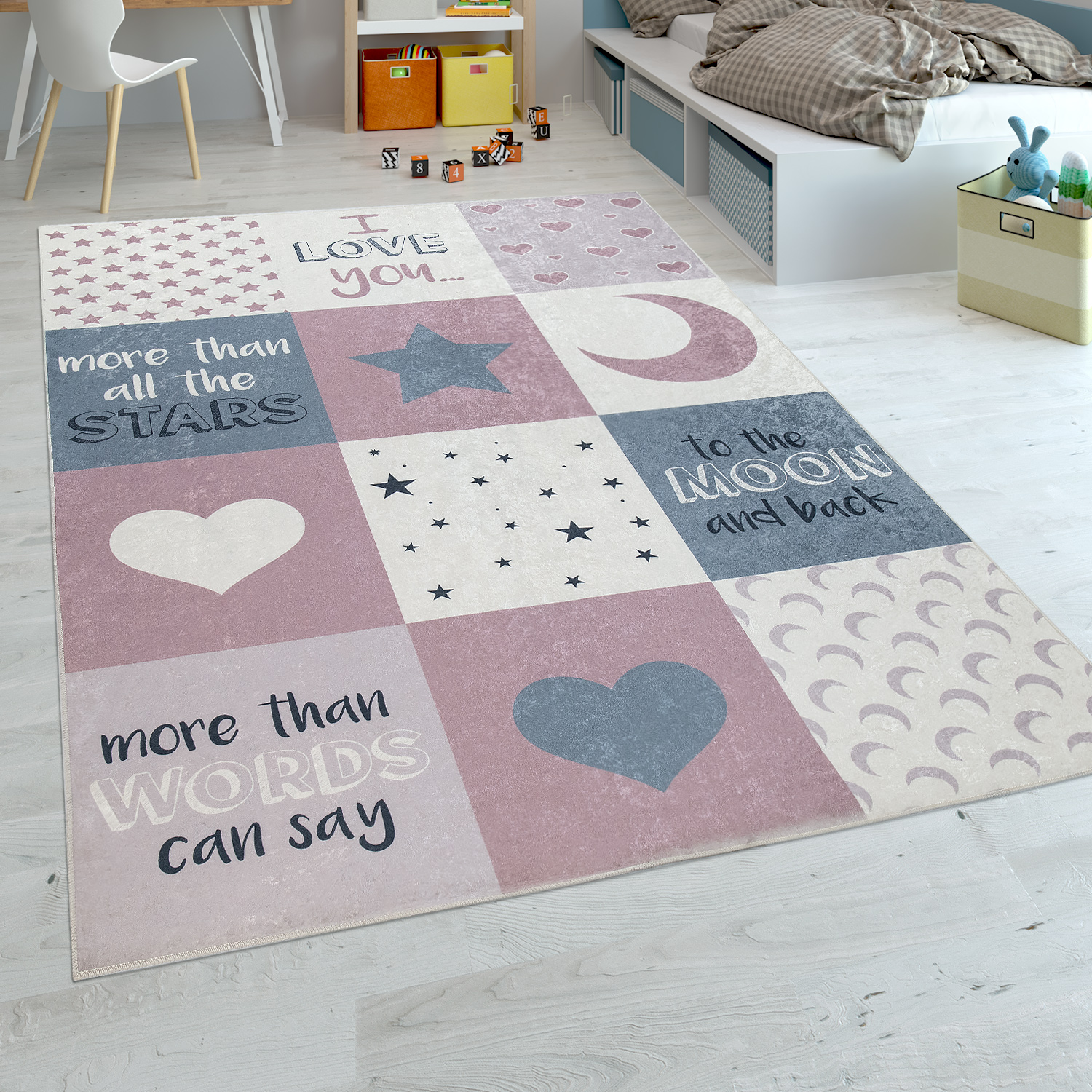 Childrens Rug Childrens Bedroom Girls Washable Hearts Stars Moon Slogan Pink Grey