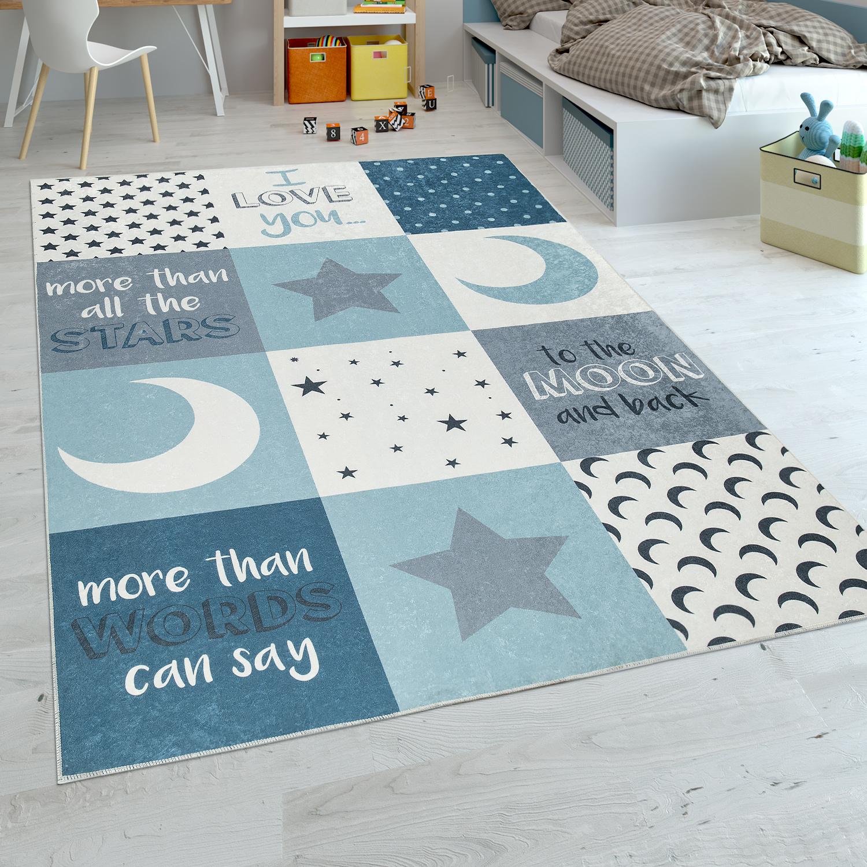Kinderteppich Jungen Mond Sterne Blau Kinder Teppiche