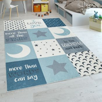 Childrens Rug Childrens Bedroom Boys Washable Hearts Stars Moon Slogan Blue Grey – Bild 1