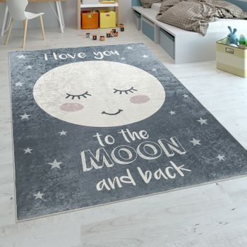 Childrens Rug Childrens Bedroom Girls Washable Stars Moon Cute Moon Slogan Grey – Bild 1