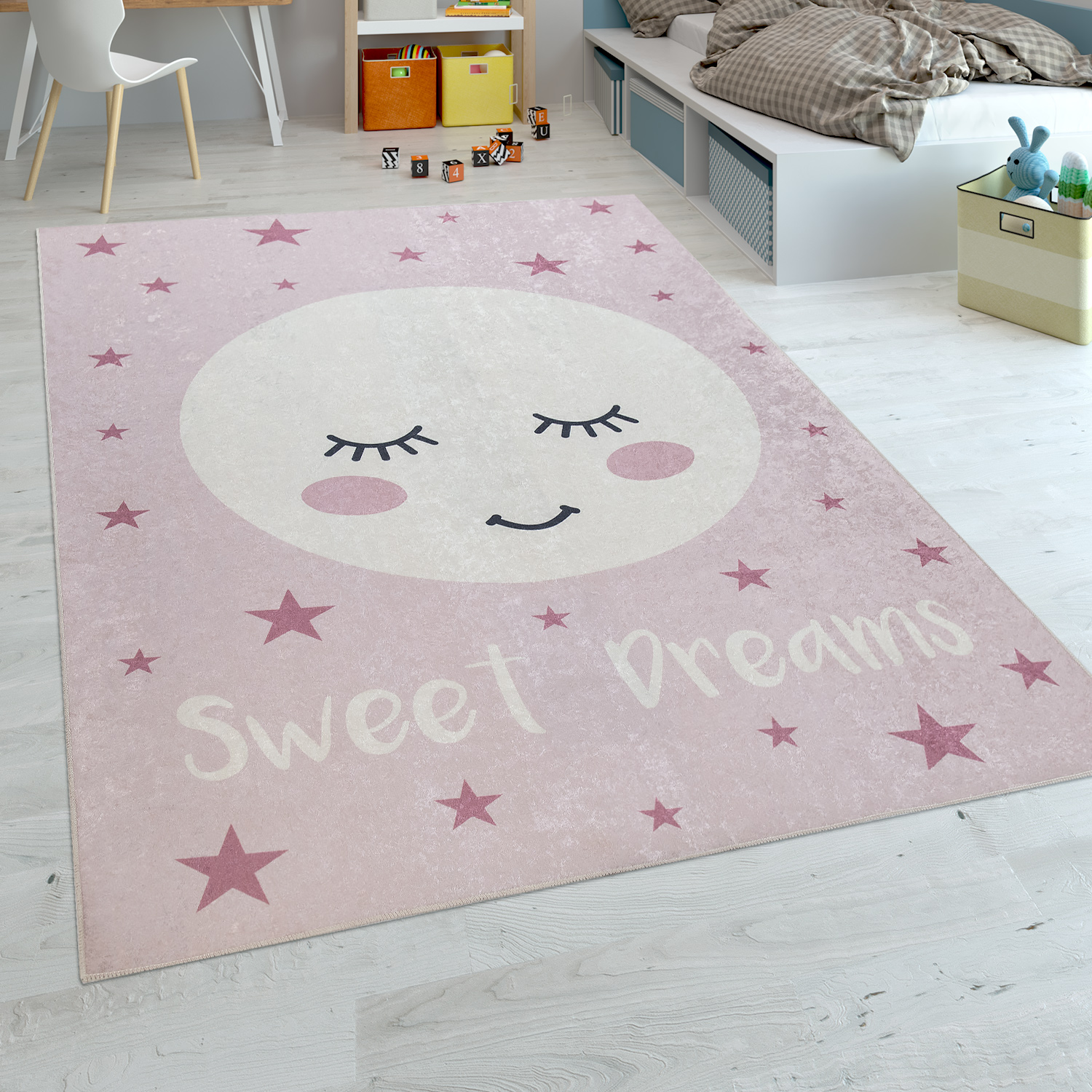 Childrens Rug Childrens Bedroom Girls Washable Stars Moon Cute Moon Slogan Pink