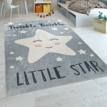 Childrens Rug Childrens Bedroom Modern Washable Cute Star Slogan Grey White – Bild 1