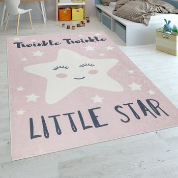 Childrens Rug Smiling Star with Slogan Pink