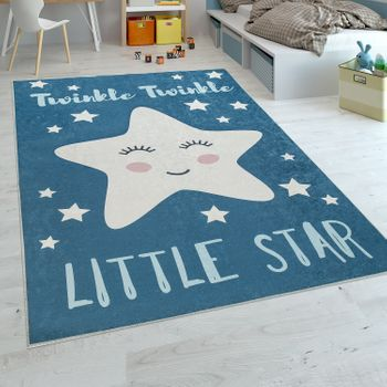 Childrens Rug Childrens Bedroom Boys Washable Cute Star Slogan Blue White – Bild 1