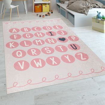 Play Rug Alphabet Learning Childrens Rug Pink