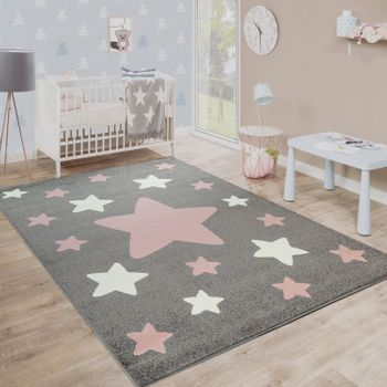 Rug Childrens Bedroom Childrens Rug Large and Small Stars in Grey Pink – Bild 1