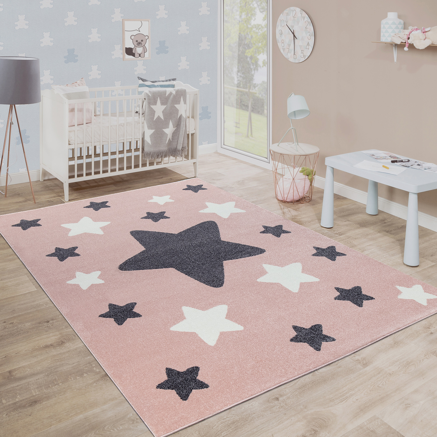 Rug Childrens Bedroom Childrens Rug Large and Small Stars in Pink Grey