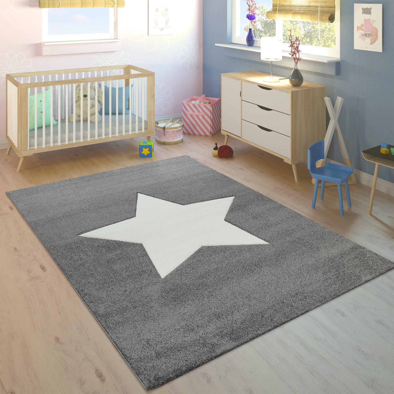 Kinderteppich Unisex Stern Grau Weiss Kinder Teppiche