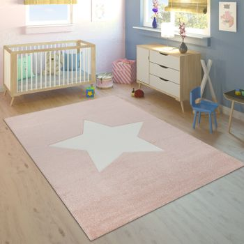 Childrens Rug Childrens Bedroom Girls Modern Large Star in Pastel Pink White – Bild 1