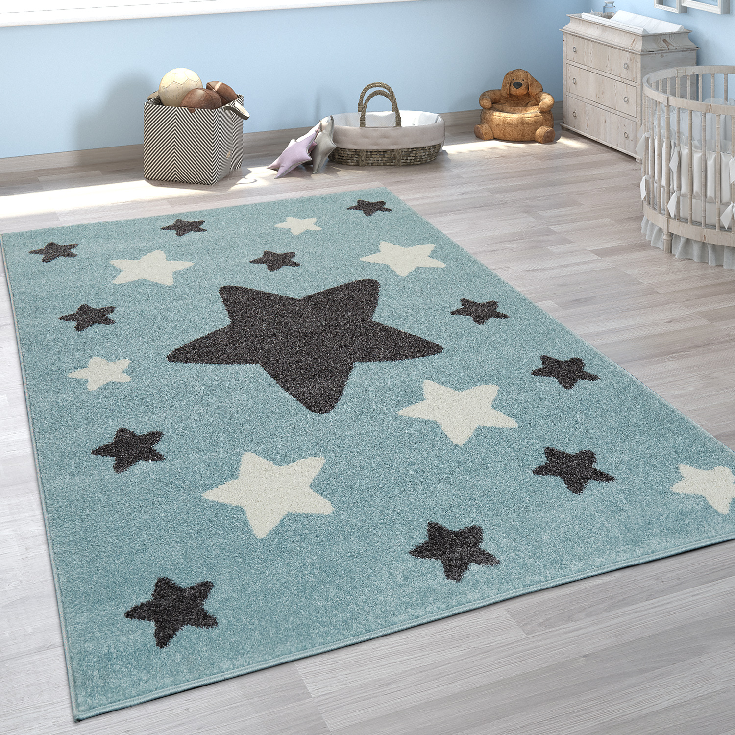 Rug Childrens Bedroom Childrens Rug Large and Small Stars in Blue Grey