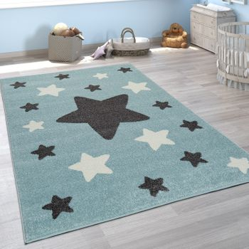 Rug Childrens Bedroom Childrens Rug Large and Small Stars in Blue Grey – Bild 1