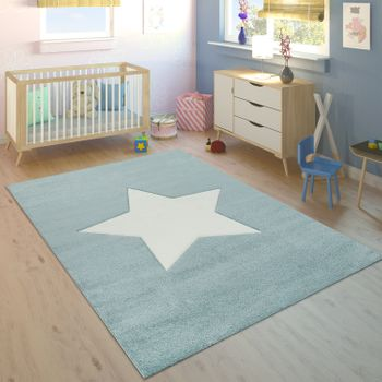 Childrens Rug Boys Star Blue White