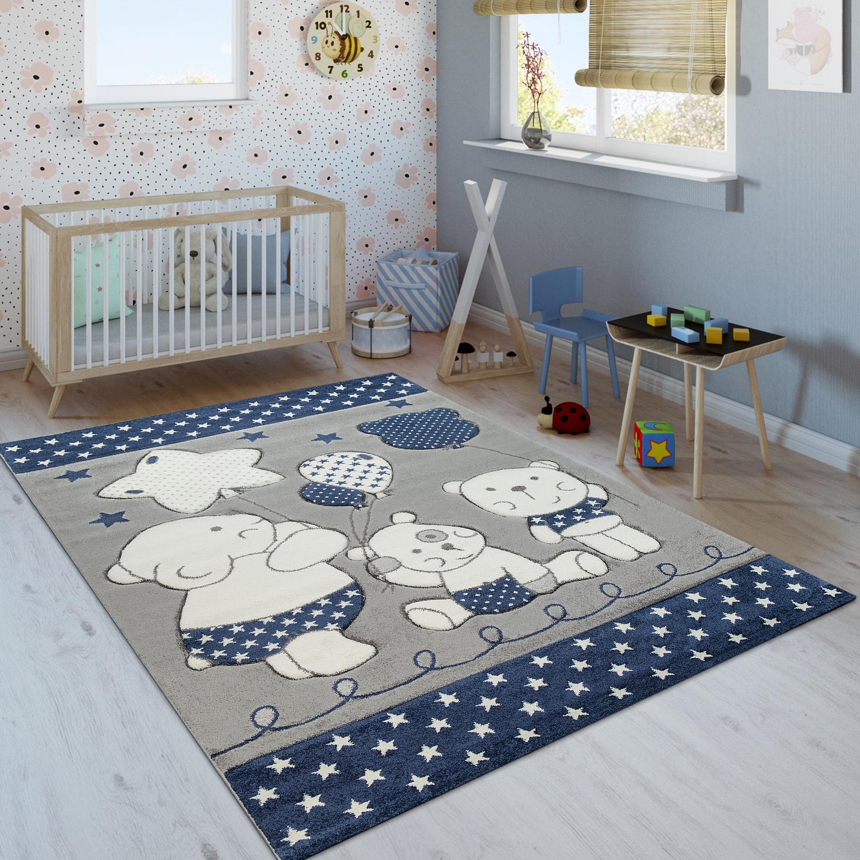 kinderzimmer kinderteppich niedliche b renfamilie und sterne in blau grau wei kinderteppiche. Black Bedroom Furniture Sets. Home Design Ideas