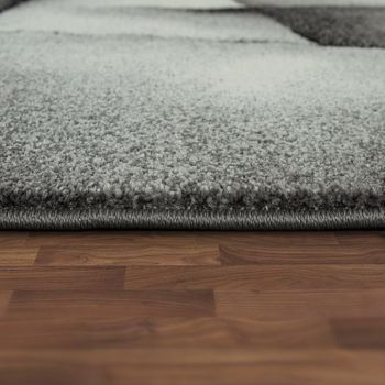 Designer Teppich Mit Konturenschnitt Moderne Muster Abstrakt Grau Türkis Meliert – Bild 2