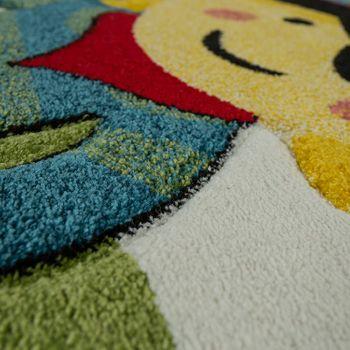 Moderner Kinderzimmer Teppich Im Piraten Look Mit Karo Muster In Blau Grün Weiss – Bild 3