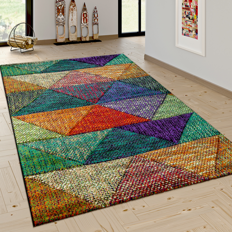Hochwertig Wohnzimmer Teppich Mit Modernen Rauten Mustern Trend Design Mehrfarbig Bunt  U2013 Bild 1
