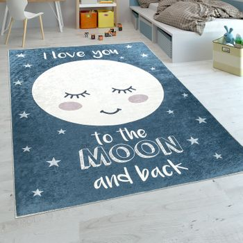 Childrens Rug Soft Moon with Slogan Blue