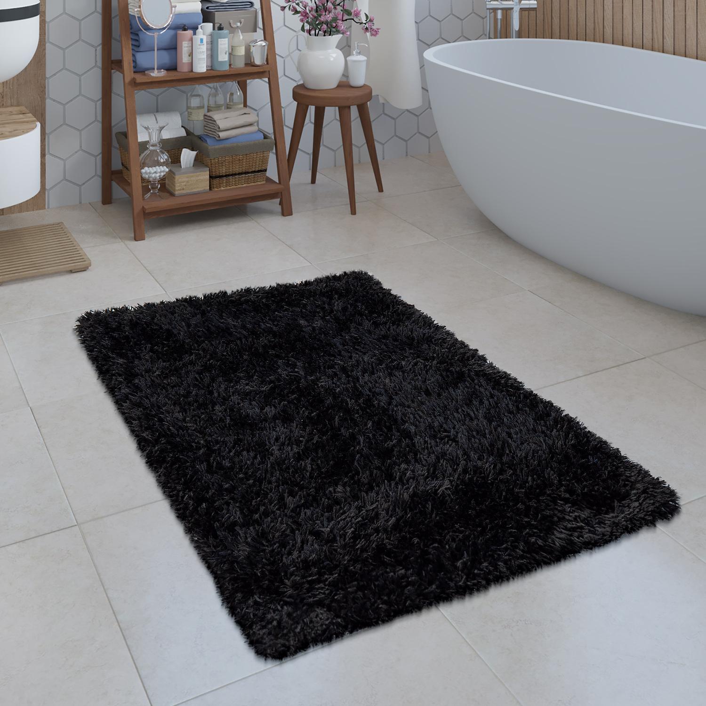 Modern Bath Mat Bathroom Rug Shaggy Snug And Soft Monochrome Black Ebay