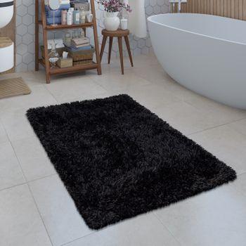 Badezimmer Teppich Shaggy Einfarbig Schwarz