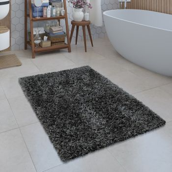 Bathroom Rug Shaggy Monochrome Black