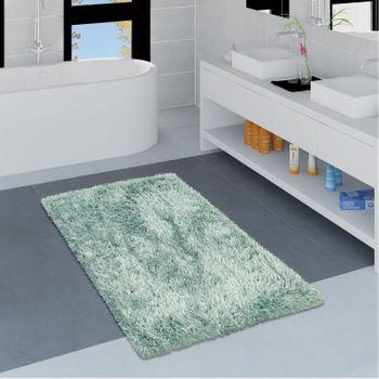 Modern Bath Mat Bathroom Rug Shaggy Snug and Soft Monochrome Turquoise – Bild 1